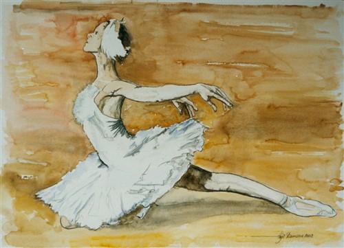 Aquarel ballet dame