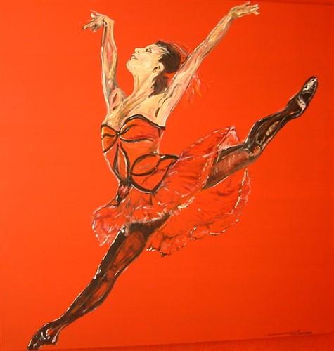 Aquarel ballet in rood