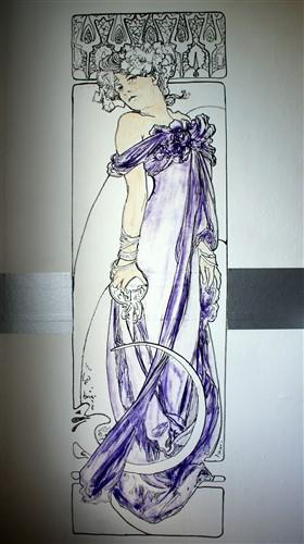 Aquarel dame op muur