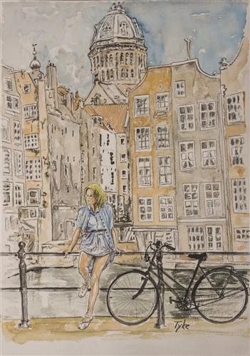 Aquarel dame op brug in Amsterdam
